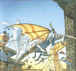 Etui-illustrasjonen til den japnske versjonen av spillet. Tegnet av Moebius